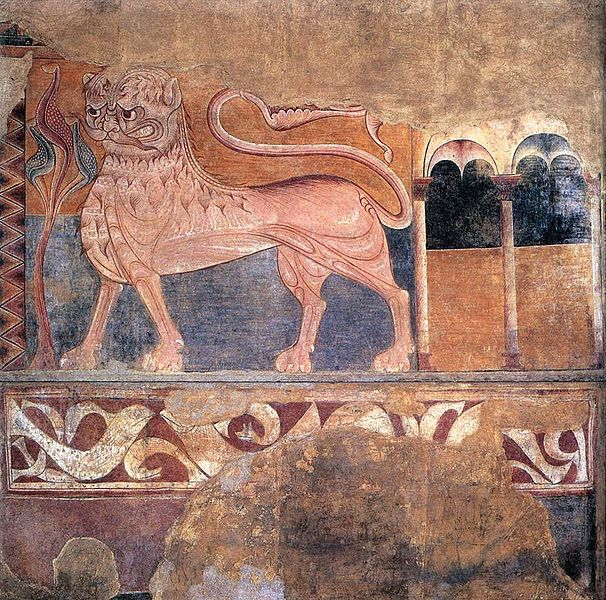 12th century lion like Lahore wall painting
