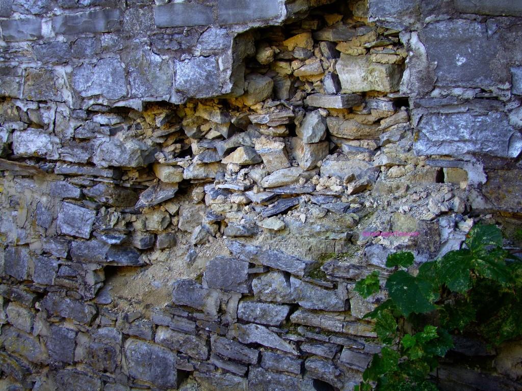 broken vintage stone wall