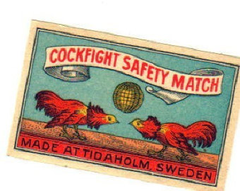 Cock fighting 1910 matchbox