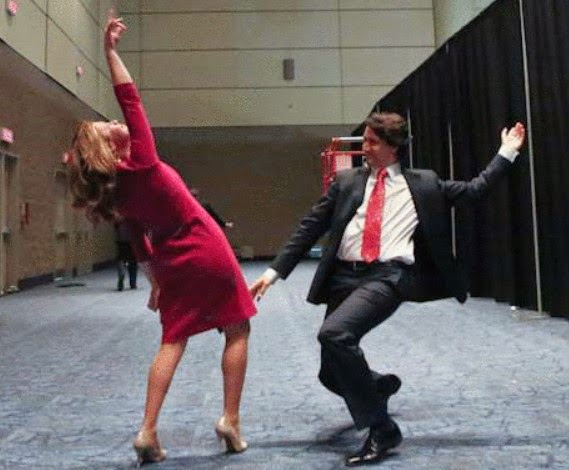 Justin Trudeau dancing to victory