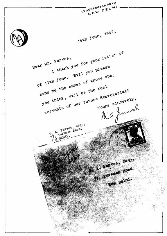 M A Jinnahs letter to Pervaiz Sahib