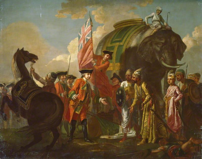 Mir Jaffer bows to Robert Clive