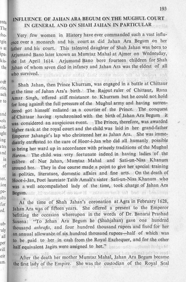 Miss Taimuris address on Jahan Ara