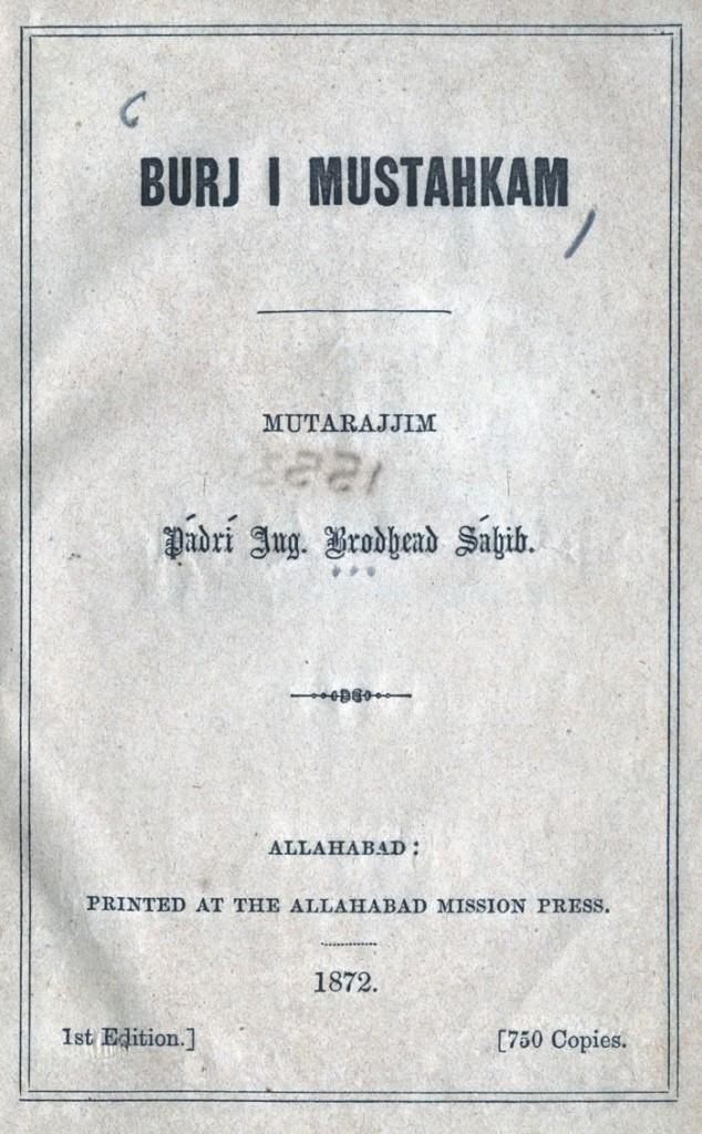 Padri Broadhead 1872 Urdu Roman