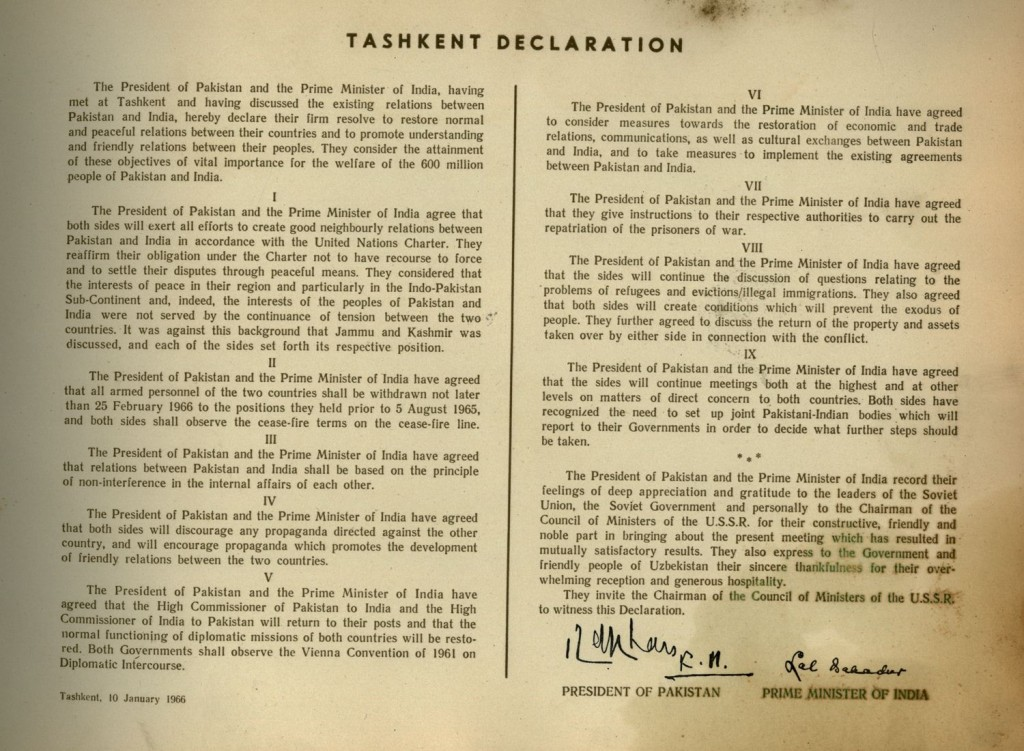 THE FAMOUS TASHKENT DECLARATION READY TO BE READ NOW