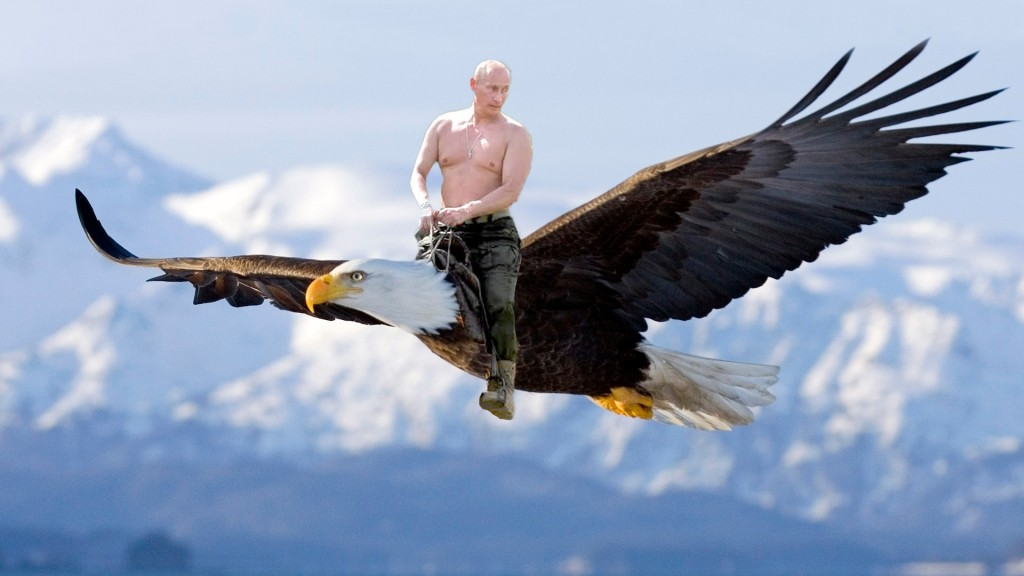 Vladimir Putin riding eagle